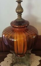 Oversized  Retro, Amber Ribbed  Glass,  Brass Table Lamp EF & EF Industries