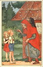 Dutch Fairy Tale Hansel & Gretel Old Woman - Hans en Grietje K1676 Postcard