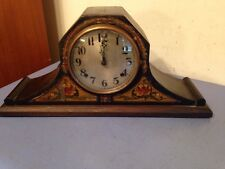 Unusual Gilbert Tambour Mantle Clock Floral Motif Normandy Movement