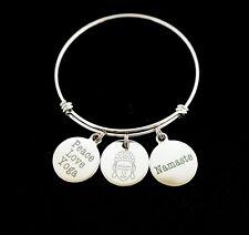 Peace Love Yoga Bangle Bracelet, Stainless Steel Yoga Bracelet, Meditation
