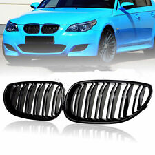 For BMW 5-Series E60 E61 2003-2010 Front Grille Grill Double Line Gloss Black