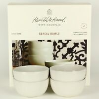 Hearth and Hand - Set of 4 - Cream/White Stoneware Cereal/Soup Bowls Magnolia