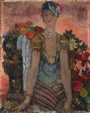 Peinture Tableau Ancien signé Art Déco Moderne - Femme aux Fruits, Monogrammée