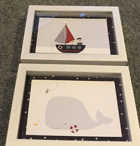 Boat & Whale Small Decorative Pictures Ideal For Childrens Bedrooms