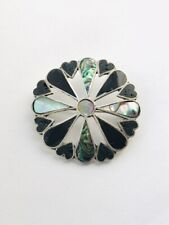 Vintage Mexican Marked Sterling Silver Abalone & Onyx Brooch 4.68gr