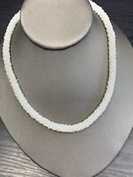 Vintage  necklace White Round Woven  Seed Bead Statement necklace 16""
