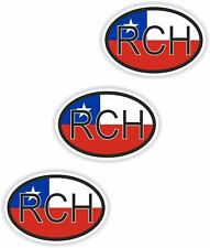 Nationality plate 3x RCH Chile Motorcycle Sticker Car Sticker