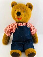 """Vintage 50's Mohair Brown Teddy Bear 18"""" Carmel Handmade Stuffed Bear"""
