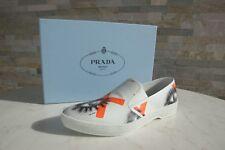 Prada Gr 38,5 Sneakers Slip Ons Schuhe 1S592G Bianco Arancio NEU UVP 490 €