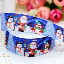 "1M 22mm 7/8"" SANTA OWL SNOWMAN CHRISTMAS GROSGRAIN RIBBON 99p CAKE PARTY XMAS"