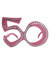OCCHIALI SAGOMA 50 Rosa con strass - Gadget idea regalo festa 50° Compleanno