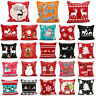"""Christmas Cushion Cover Luxury Festive Red Xmas Chenille Throw Covers 18"""" x 18"""""""