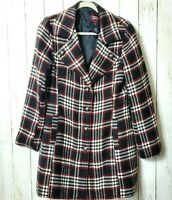 BB Dakota Large Plaid Trench Coat Jacket Wool Blend Black Red White Button Front