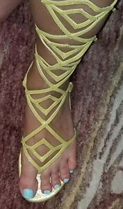 $850 Brian Atwood Skyhigh Gladiator yellow silk leather Shoes sandals SIZE 40