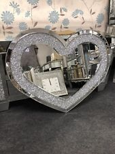 Sparkly Silver Crushed Diamante Crystals Heart Shape Wall Mirror 90 x 70 (cm)