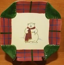 "Pfaltzgraff SNOW BEAR Square Luncheon plate, 9"", Christmas, Very good"