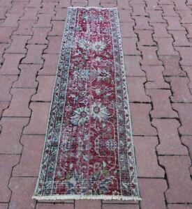 Anatolian Oriental Runner Rug Turkish Vintage Handwoven Floral Carpet 1.6x5 ft