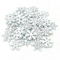 50 Mix White Wooden Christmas Snowflakes for Cardmaking Embellishments