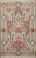 2'x3' Gray Art & Craft Hand-Knotted Indian Oriental Area Rug Wool Foyer Carpet