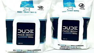 2 Dude 2 In 1 Face & Body Sea Salt & Aloe 30 Ct Fragrance Free Cleansing Wipes