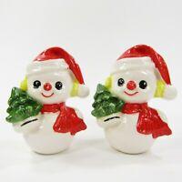 Vtg Lefton Snowman Salt and Pepper Shakers #1182 Ceramic Santa Hat Christmas SP4