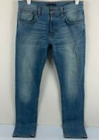 Nudie Men's Blue Denim Jeans Size W33 L34 Organic Cotton Zip Fly Raw Wash