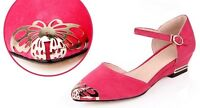 Ladies Pointed Shoes Faux Suede Wedge Low Heels Ankle Strap Sandals AU Size S242