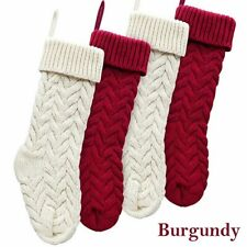 """18"""" Large Size Cable Knit Knitted Christmas Xmas Stockings Stocking Decorations"""
