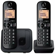 PANASONIC TWIN CORDLESS DECT PHONE WITH CALL BLOCK IN BLACK KX-TGC212EB
