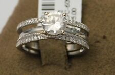 Solitaire Enhancer Jacket Diamonds Ring Guard Wrap 14k Gold White Wedding Band