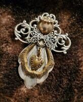 Vintage Kat's Creations Mixed Metal Filigree Abstract Angel Brooch Pin