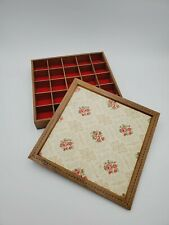 Vintage Divided Jewelry Tray Box Trinket Storage Wood Inlay Floral Design
