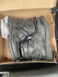 Polo Ralph Lauren CONQUEST HI III Black Leather Front Zip Boots Men's Size 11