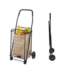 Utility Shopping Cart Foldable Jumbo Basket Outdoor Grocery Laundry Wheels