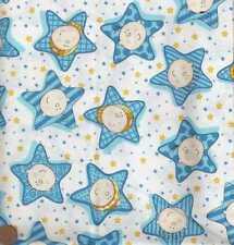 Funny babies blue faces stars Moda fabric