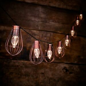 10 LED Solar Powered Rustic Cage String Lights Garden Outdoor Fairy Summer Lamp
