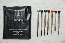 Anchor Brand Watch Repair Screw Driver Set of 7 - Plastic Pouch - Hardened Steel