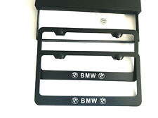 2X For BMW Black Stainless Steel License Plate Cover Frame Screw Caps