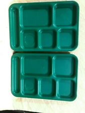 Green Heavy Plastic Set of 4 Cambro Ps 1014 Cafeteria Divided School Lunch Vtg