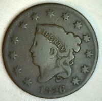 1826 Coronet Large Cent US Copper Type Coin Good N6 Newcomb Variety Penny M4