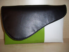 OVER SIZED  LIME GREEN, BLACK & WHITE faux leather aysemmetrical clutch bag
