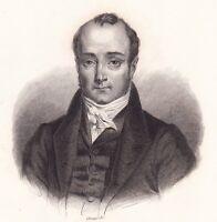 Portrait XIXe Paul Jean Pierre Sauzet Lyon Rhône Homme Politique 1842