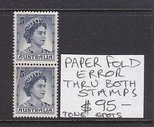 5d Qeii Pair Paper Fold Error Thru Both Stamps. Muh/Mh