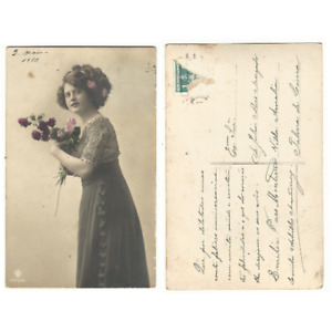 Antique Vintage Postcard colored Victorian lady with flowers 1910 -e