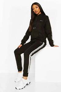 Boohoo Woman Black Tracksuit Size 12 NEW Oversized Hoodie & Joggers