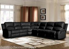 Classic Large Sectional Sofa Black Faux Bonded Leather Recliner End Seat