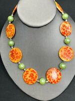 """Necklace Vintage Mother Of Pearl Leopard Print  Beaded Bohemian Orange Green 16"""""""