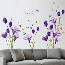 Purple Lily Flower Wall Sticker 3D Decal Mural Art Wallpaper Decor Living Room