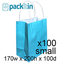 x100 AQUA BLUE paper gift CARRY tote party BAGS handles SMALL (170 x 200mm) BULK