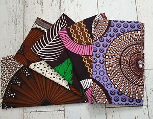 Ankara Cotton Super Wax Print - Fat Quarters Brown Pack